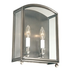Sconce Wall Light with Clear Glass in Historic Nickel Finish