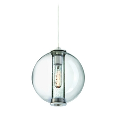 Clear Outer Seeded Inner Glass Mini-Pendant Light Satin Nickel Philips Lighting