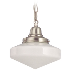 Design Classics Lighting 8-Inch Schoolhouse Mini-Pendant Light in Satin Nickel with Chain FB4-09 / GE8 / B-09