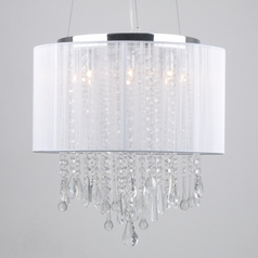 Avenue Lighting HF1501-WHT Beverly Drive Crystal Pendant Light with White Drum Lamp Shade