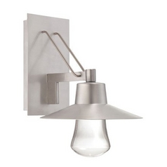Outdoor Wall Light with Clear Glass in Brushed Aluminum Finish