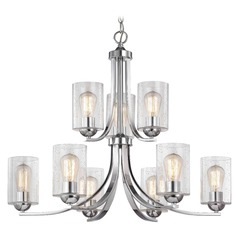 Seeded Glass Chandelier Chrome 2-Tier 9 Lt