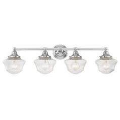 Clear Glass Schoolhouse Bathroom Light Chrome 4 Light 31.625 Inch Length