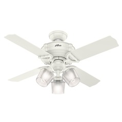 Hunter 44-Inch Brunswick Fresh White Ceiling Fan with Light with Handheld Remote