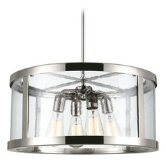 Feiss Lighting Harrow Polished Nickel Pendant Light with Drum Shade