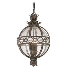 Outdoor Hanging Light with Clear Glass in Campanile Bronze Finish