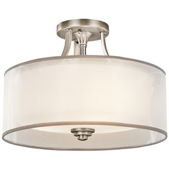 Kichler Semi-Flushmount Light with White Glass in Pewter Finish