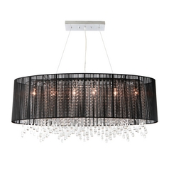 Beverly Drive Oval Crystal Pendant with Black Lamp Shade