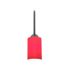 Design Classics Lighting Black Modern Mini-Pendant Light with Red Cylinder Glass 581-07  GL1008C