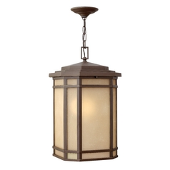 Outdoor Hanging Light with Amber Glass in Oil Rubbed Bronze Finish