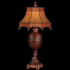 Fine Art Lamps Brighton Pavillion Rich Claret with Golden Highlights Table Lamp with Bell Shade