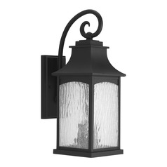 Water Seeded Glass Outdoor Wall Light Black Progress Lighting