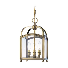 Mini-Pendant Light with Clear Glass in Aged Brass Finish