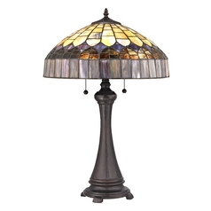 Pull-Chain Tiffany Glass Table Lamp with Dome Shade in Bronze Finish