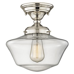 10-Inch Clear Glass Schoolhouse Semi-Flushmount Light in Polished Nickel