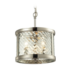 Drum Pendant Light with Clear Glass in Polished Nickel Finish