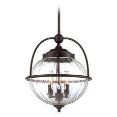 Savoy House Lighting Banbury English Bronze W/ Gold Pendant Light with Globe Shade