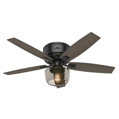 Hunter 52-Inch Bennett Matte Black Ceiling Fan with Light with Handheld Remote