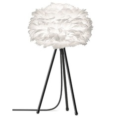 UMAGE Black Table Lamp with White Feather Shade