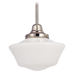 10-Inch Schoolhouse Mini-Pendant Light in Polished Nickel Finish
