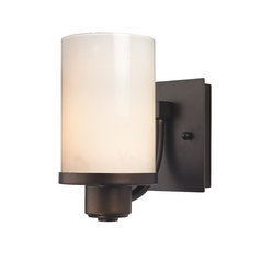 Modern Sconce Wall Light with White Glass in Neuvelle Bronze Finish