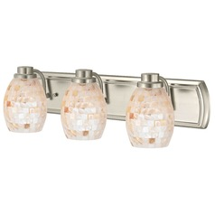 3-Light Bath Light with Mosaic Glass in Satin Nickel