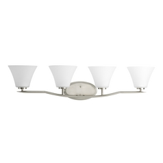 Progress Bathroom Light with White Glass in Brushed Nickel Finish