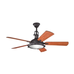 Kichler Lighting Hatteras Bay Distressed Black Ceiling Fan with Light