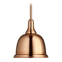 Quorum Lighting Satin Copper Mini-Pendant Light with Bowl / Dome Shade