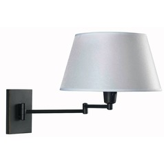 Modern Swing Arm Lamp with White Shade in Oil Rubbed Bronze Finish