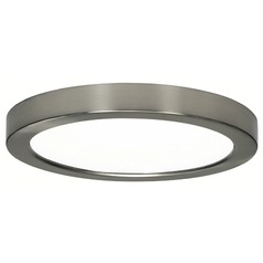 9-Inch Round Nickel Low Profile LED Flushmount Ceiling Light - 2700K
