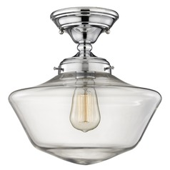 12-Inch Clear Glass Schoolhouse Semi-Flushmount Light in Chrome Finish