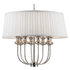 Pembroke 8 Light Pendant Light Drum Shade - Polished Nickel