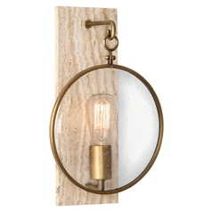 Industrial Travertine / Antique Brass Sconce by Robert Abbey