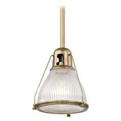 Hudson Valley Lighting Haverhill Aged Brass Mini-Pendant Light with Bowl / Dome Shade