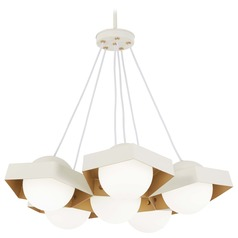 George Kovacs Five-O Textured White W/gold Leaf LED Pendant Light with Globe Shade