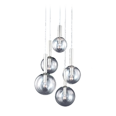 Modern Multi-Light Pendant with Clear Glass in Polished Nickel