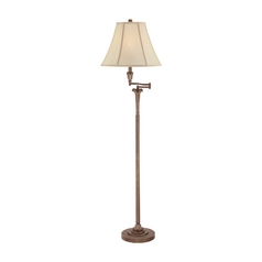 Swing Arm Lamp with White Shade in Palladian Bronze Finish