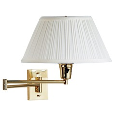 Modern Swing Arm Lamp with White Shade in Polished Brass Finish