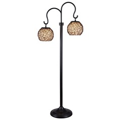 Floor Lamp with Brown Shade in Bronze Finish