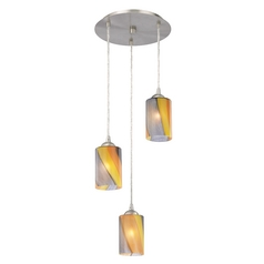 Design Classics Lighting Modern Multi-Light Pendant Light with Art Glass and 3-Lights 583-09 GL1015C