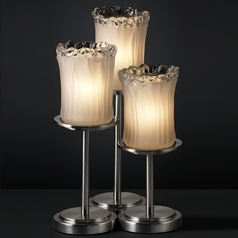 Justice Design Group Veneto Luce Collection Brushed Nickel Table Lamp with Cylindrical Shade