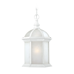 Outdoor Hanging Light with White Glass in White Finish