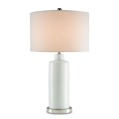 Currey and Company Lighting Off White / Polished Nickel Table Lamp with Drum Shade
