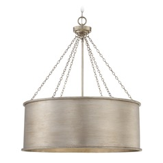 Savoy House Lighting Rochester Silver Patina Pendant Light with Drum Shade