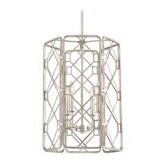 Transitional Pendant Light Silver Mission by Quoizel Lighting