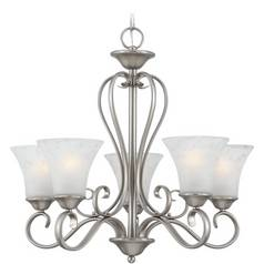 Quoizel Lighting Chandelier with Grey Glass in Antique Nickel Finish DH5005AN