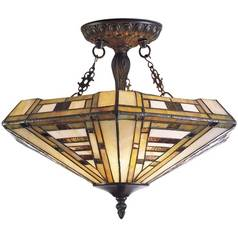 Semi-Flushmount Light with Multi-Color Glass in Classic Bronze Finish