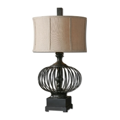 Table Lamp with Beige / Cream Shade in Rustic Black Finish