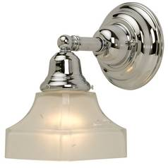 Craftsman Style Sconce Chrome with Square Glass